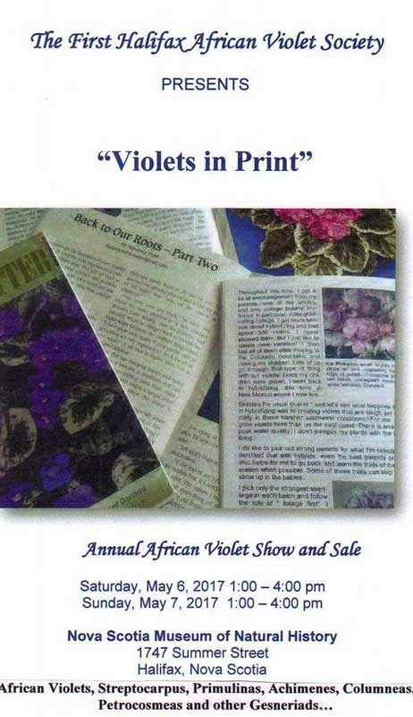 First Halifax African Violet Show May 6-7, 2017